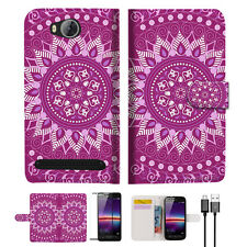 Purple AZTEC TRIBAL Wallet TPU Case Cover For HUAWEI Y3 II 2 -- A003