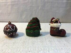 3 Boyds Bear Elvies Hat SC Boot of Goodies Joy Christmas Ornament Treasure Box