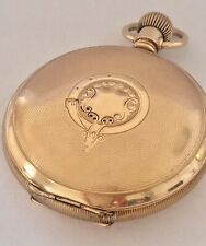 Antique Full Hunter Gold Plated engine turned Case Elgin Pocket Watch