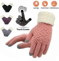 UK Women Winter Warm Touch Screen Gloves Full Finger Knitted Fleece Lined Gloves
