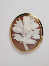 2850 Hand Carved WHITE ROSE BOUQUET CAMEO 14k Yellow Gold Brooch Pin/Pendant