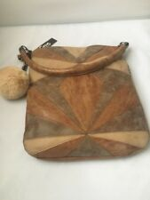 Circus by Sam Edelman $80 NWT Whitney Patchwork Shoulder Bag Cognac Pom Keychain