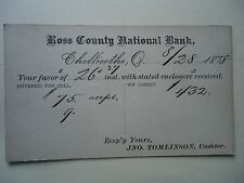 1878 Postal Card Ross County National Bank Chillicothe Ohio