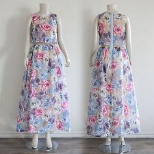 Muti Garden Flower Print Overlay Mesh Organza Maxi Dress/ Large
