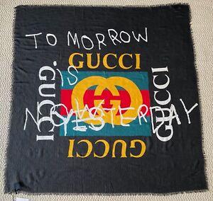 NWT Gucci GG Logo Web Tomorrow Is Now Yesterday Black Scarf Wrap Shawl $850
