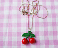 CHERRIES PENDANT NECKLACE ROCKABILLY RED CHERRY BALL CHAIN