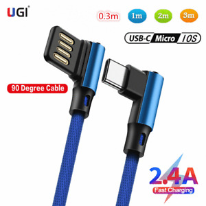 0.3-3m L-Shape Braid 2.4A Charging Type C USB Cable For iPhone X Samsung Charger