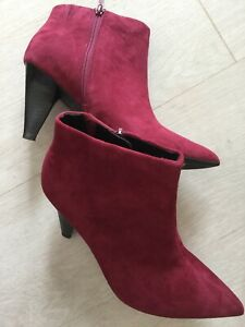 BNWT MARKS & SPENCER INSOLIA SUEDE LEATHER ANKLE BOOTS UK 6.5 WINE SLIM HEEL