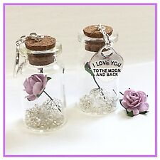 'I LOVE YOU TO THE MOON & BACK' . A BEAUTIFUL MINI 4cm GIFT BOTTLE KEEPSAKE.