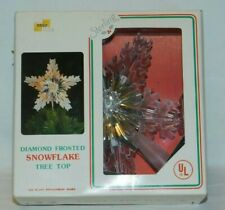 Vintage Christmas Tree Topper Diamond Frosted Snowflake 11 light flash or steady