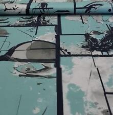 Stoff Jersey Panel Gesichter Baumwolle türkis schwarz 120cm x 150cm 15,84€/m