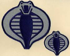 "GI Joe Cobra Commander Navy Blue & Silver 6"" & 3"" Embroidered Patch Set [2]"