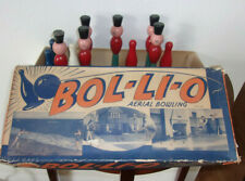 Vintage aerial bowling pin game wooden soldiers rare in box 1930's Bol-li-o!