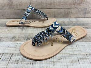 Sam Edelman Anella Blue Beaded Leather T-Strap Flat Thong Sandals Women's sz 9.5