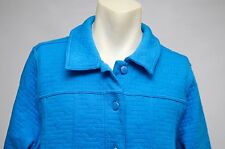 Isaac Mizrahi Live Womens Quilted Knit Button Down Jacket Blue Size XL