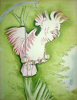 [Karikatur] Georges Bastia - Lucien Baroux, Kakadu - Lithografie Unterzeichnet