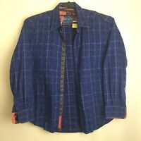 Robert Graham Men's XL Blue Floral Print Button Front Shirt Flip Cuff