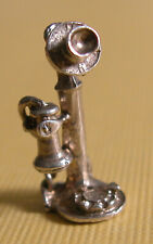 Vintage Sterling Silver Candlestick phone Charm with Dial!