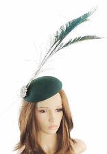 Cappello Fascinator Con Verde Scuro per Matrimoni, Ascot, Prom, con fascia per capelli D4