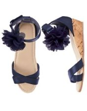 Gymboree Tropical Breeze Navy Blue Rosette Wedge Sandals Shoes 9 Girl Nwt