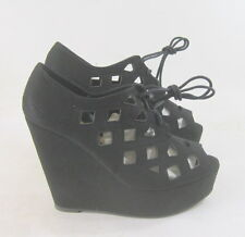 "Black 5"" wedge heel 2"" platform lace up open toe side sexy shoes SIZE  8.5  p"