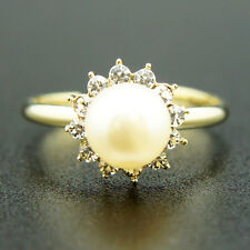 14k Gold Plated Swarovski Crystals Pearl Ring Adjustable Size 5 6 7 8 9 10