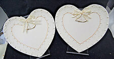 Set of 2 Ganz Wedding Bells Heart Shaped Plates - White w/ Bow, Pearls [S6641]