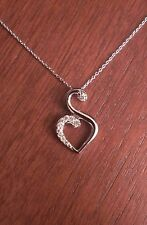 18 Marquise Pendant Journey Necklace Clear Simulated CZ .925 Sterling Silver