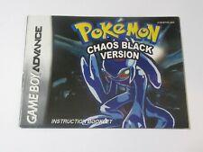Nintendo Game Boy Advance Instruction Manual - POKEMON CHAOS BLACK VERSION