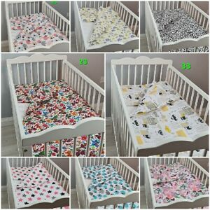 2 pc cot bed bedding set nursery baby 100% cotton covers ANIMALS STARS HEARTS