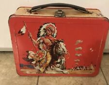 VINTAGE RARE 1959 GREAT WILD WEST METAL LUNCHBOX Cowboy and Indian