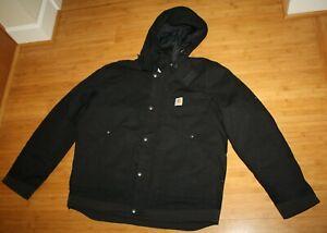 Hooded Carhartt Full Swing Heavy Duty Sz L Jacket Black Mens 14806 Soft Shell