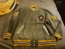 Mitchell Ness M&N Authentic Chicago Boston Bruins Leather Wool Jacket 64 5XL WOW