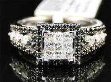 14K Womens White Gold Black White Diamond Engagement Wedding Promise Ring .55 Ct