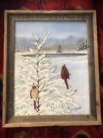 "Handpainted ""Redbirds In Snow"" by VA Artist Karen Sherwood- Blue Ridge Mountains"