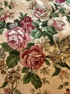 Sanderson Fabric 'Harcourt' Toffee.Crimson, Pink Rose Floral Cotton FQ 56x51cm