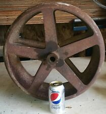"""Rare Design Iron Wheel/Industrial drive pulley?18""""  49 POUNDS! USE or REPURPOSE!"""