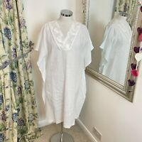 Jaeger Size 12 white floaty white 100% linen floaty summer holiday dress beach