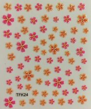 Nail Art 3D Decal Stickers Glittery Hot Pink & Orange Flowers TFK24