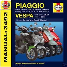 Vespa Scooter ET2 ET4 LX2 LX4 50 125 GT125 GT200 1991-06 Haynes Manual 3492