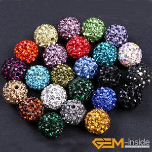 10mm Sparkle Clay Rhinestone CZ Crystal Pave Disco Ball Beads 10 Pcs Wholesale