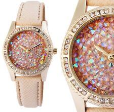 Damenuhr Armbanduhr Goldfarbig Steinbesatz Kunstlederband beige 195007500222