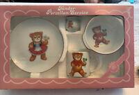 Reutter Kinder-Porzellan Service 4 Piece, Mfg Germany Vintage 80's Teddy Bear