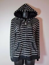 BCBG MaxAzria Jacket L Velour Hoodie Black Stripe Embellished Zip Front NEW