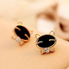 Cute Cat Earrings Black Enamel Clear crystal Stud Minimal Simple Animal Kitty