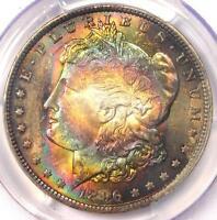 1896 Toned Morgan Silver Dollar $1 - Certified PCGS MS62 - Nice Rainbow Toning!