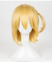 Halloween Hitoka Yachi Wig Short Gold Cosplay Wig Costume Wigs Cos+Cap