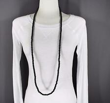 "Black super extra long bead 44"" necklace beaded wrap double look"