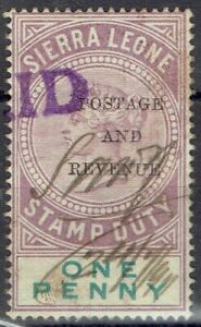 Sierra Leone.  QV.  1d Stamp Duty optd Postage & Revenue.  Used fiscally.