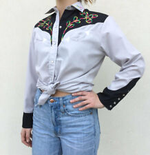 Vintage Vtg 70s 1970s Western Pearl Snap Top with Rainbow Embroidery